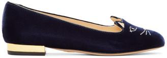 Charlotte Olympia Navy Velvet Kitty Flats $365 thestylecure.com