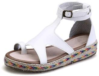 CAMSSOO Women's Retor Gladiator Double Ankle Strap Toe Post Comfortable Sandals Soft PU 6 US M