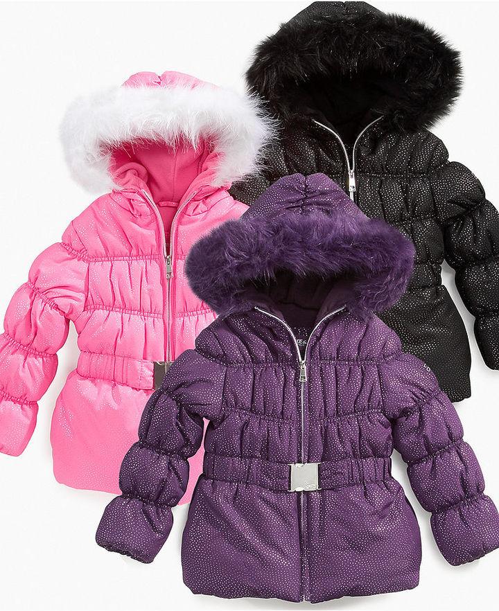 Hawke & Co Kids Jacket, Little Girls Belted Shimmer Coats