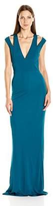 ABS by Allen Schwartz Women's Plunging Neckline Gown W/Shoulder Cut Out