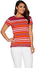 C. Wonder Engineered Stripe Short Sleeve Topw/ Pom Pom Trim