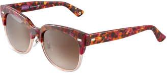 Gucci Round Two-Tone Havana Plastic Sunglasses, Brown/Pink