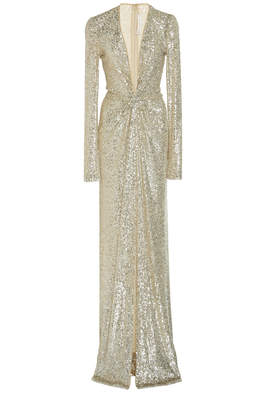 Naeem Khan Gathered Sequined Gown Size: 6