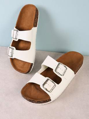 Shein Double Buckle Cork Footbed Slide Sandal WHITE