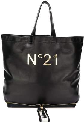 No.21 logo print foldable tote