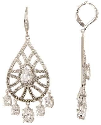 Judith Jack Sterling Silver Swarovski Marcasite & Crystal Shaky Pave Teardrop Earrings