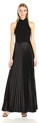 Nicole Miller Women's Poly Satin Mock Neck Pleated Gown, Black, 6
