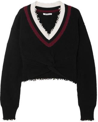 Alexander Wang Cropped Frayed Cotton-blend Sweater
