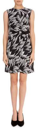Victoria Beckham Victoria Sleeveless Round-Neck Ruched-Center A-Line Palm-Print Dress
