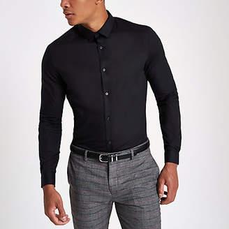 River Island Black slim fit long sleeve smart shirt
