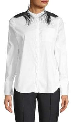 Brunello Cucinelli Long-Sleeve Plume-Trimmed Blouse