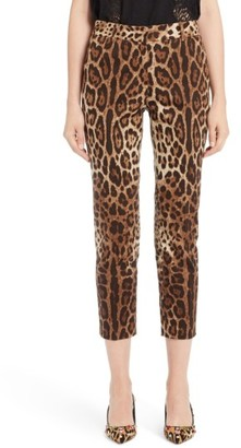 Women's Dolce&gabbana Leopard Print Ankle Pants