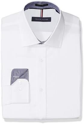 Tommy Hilfiger Men's Non Iron Slim Fit Herringbone Solid Dress Shirt