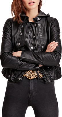 Free People New Dawn Hooded Faux Leather Jacket