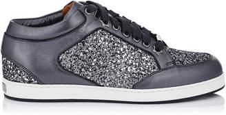Jimmy Choo MIAMI Gunmetal Mix Star Coarse Glitter Fabric and Metallic Nappa Sneakers