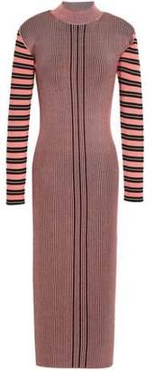 McQ Striped Ribbed-knit Midi Dress