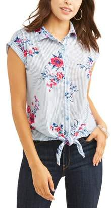 Laundry by Shelli Segal French Women's Short Sleeve Front Tie Button Up T-Shirt
