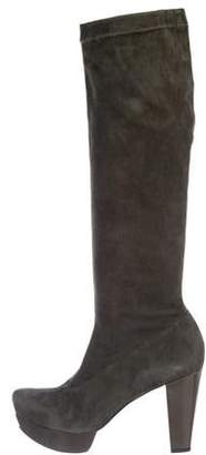 Robert Clergerie Suede Square-Toe Knee-High Boots