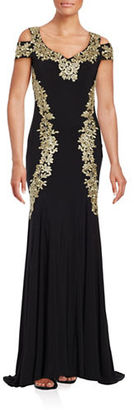 Betsy & Adam Embroidered Floral Trumpet Gown $269 thestylecure.com