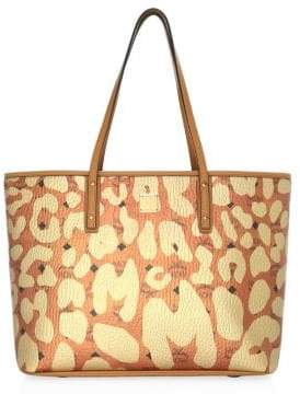 MCM Medium Anya Leopard Print Top-Zip Shopper