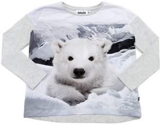Molo Polar Bear Print Cotton Jersey T-Shirt