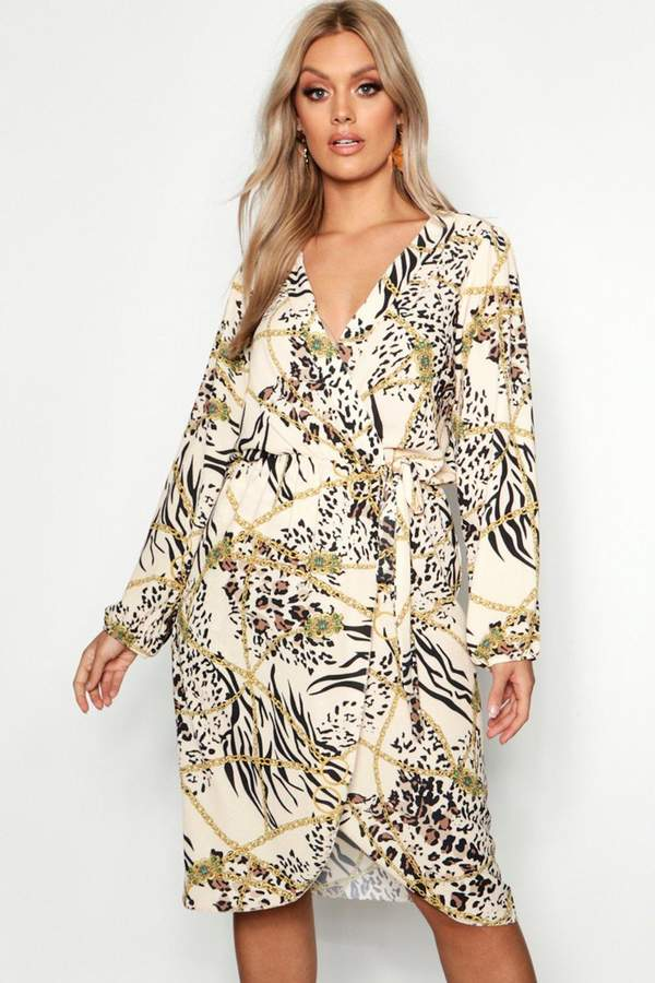 Plus Leopard Chain Wrap Front Dress