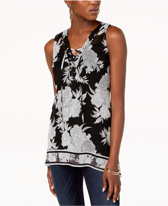 INC International Concepts I.n.c. Printed Lace-Up Tank Top
