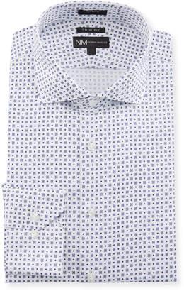 Neiman Marcus Men's Trim Fit Regular Finish Square Print Dress Shirt