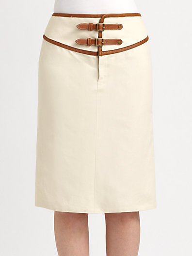 Ralph Lauren Blue Label Leather-Trimmed Skirt