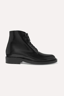 Saint Laurent Army Polished-leather Ankle Boots - Black