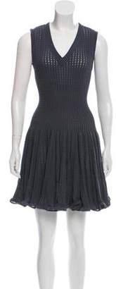 Alaà ̄a Fit and Flare Mesh Knit Dress blue Alaà ̄a Fit and Flare Mesh Knit Dress