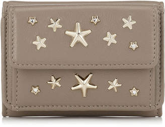 Jimmy Choo NEMO Light Mocha Leather with Crystal Stars Small Wallet