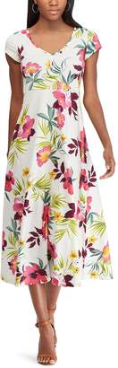 Chaps Petite Floral-Print Cap Sleeve Dress