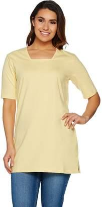 Denim & Co. Essentials Oversized Square Neck Tee w/ Elbow Sleeve