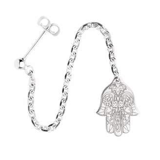 CarterGore - Silver Hamsa Hand Single Long Drop Earring