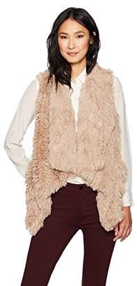 Democracy Women's Drape Front Faux Fur Vest