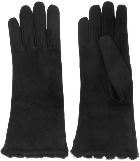 Bottega Veneta Intrecciato-effect suede and shearling gloves
