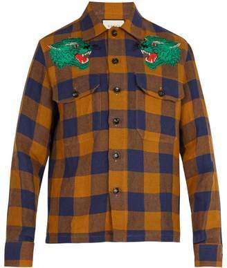 Gucci Checkered Green Panther Linen Shirt - Mens - Blue