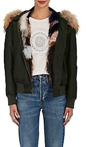 Mr & Mrs Italy Women's Fur-Lined Bomber Jacket-Green
