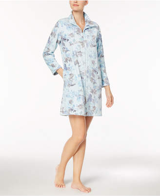 Miss Elaine Floral-Print Fleece Short Robe