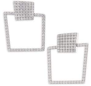 Roberto Coin Sauvage Prive Diamond& 18K White Gold Square Earrings