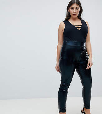 Asos DESIGN Curve high waisted wet look leggings