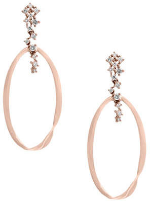 Effy 0.28 TCW Diamond and 14K Rose Gold Hoop Earrings