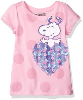 Peanuts Little Girls' Toddler Heart Short-Sleeved Puff Tee