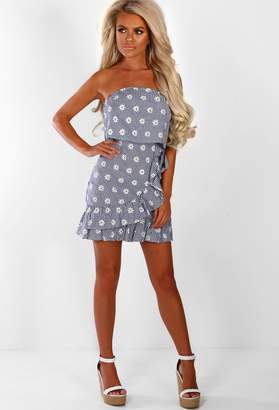 740848af84 Pink Boutique Daisy Dreamin  Navy Floral Frill Strapless Mini Dress
