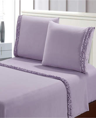 De Moocci Bella Shabby Chic Easy Care Ruffled 4pcs Microfiber Bed Sheet Set Bedding