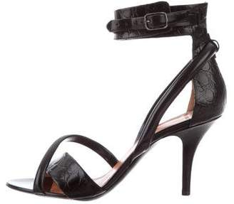 Givenchy Embossed Leather Ankle Strap Sandals