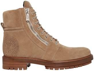 Balmain 35mm Zip Suede Combat Boots