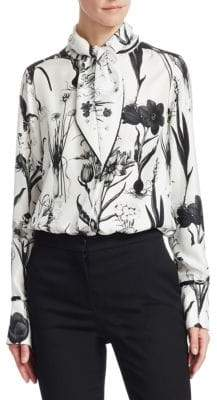 Oscar de la Renta Tie-Neck Bi-Color Silk Blouse