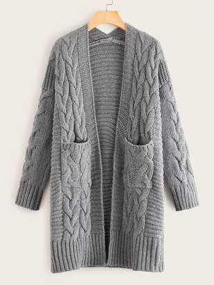 Shein Cable Knit Dual Pocket Cardigan